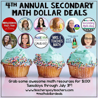 Math $1 Deals Tuesdays in July 2019 - We're back with our 4th annual July math resources sale this year! Each Tuesday in July find math resources on sale for just $1. #mathdollardeals