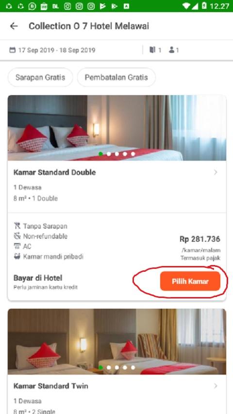 Klik Pilih Kamar Hotel di Tokopedia