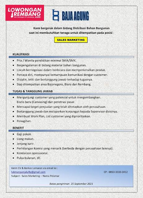 Lowongan Kerja Sales Marketing Bahan Bangunan Baja Agung Penempatan Bojonegoro, Blora, dan Rembang