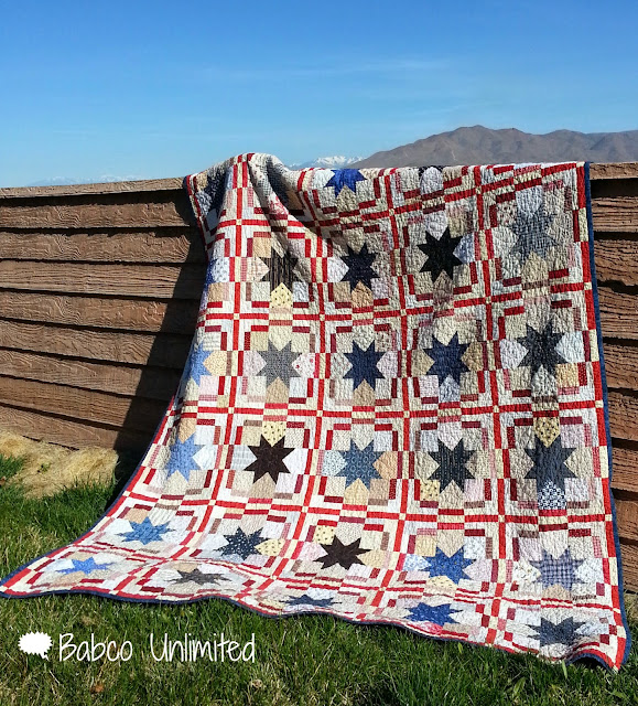 BabcoUnlimited.blogspot.com - Stars of Glory Quilt, Red White & Blue Quilt, Patriotic Quilt