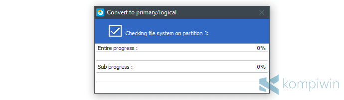 mengubah partisi primary jadi logical