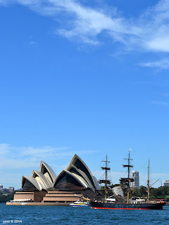 opera house and tall ship