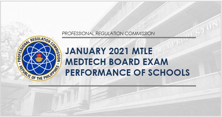 Medtech board exam result: performance of schools January 2021