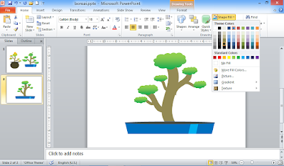 Pot Tanaman Bonsai di Powerpoint