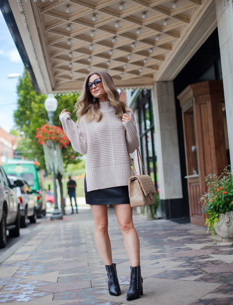 nordstrom topshop oatmeal mock neck sweater