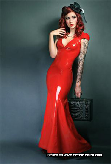 Red latex dress redhead