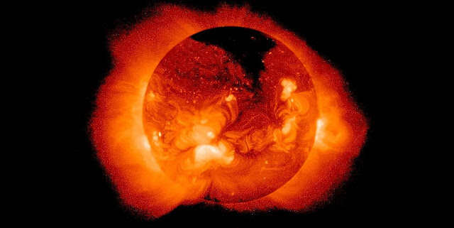 The sun's corona shines brightly in x-rays because of its high temperature. Image credit: NASA