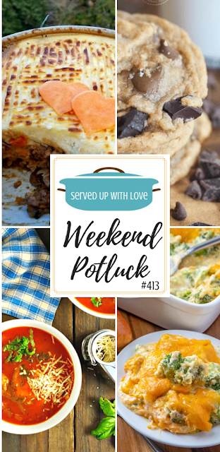 Weekend Potluck featured recipes include Shepherd's Pie, Triple Chocolate Chip Pudding Cookies, Easy Tomato Ravioli Soup, Broccoli Casserole, and so much more.