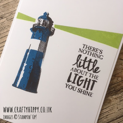 This image shows a pop-art style handmade card showing a lighthouse, made using the High Tide stamp set and Lemon Lime Twist ink by Stampin' Up!
