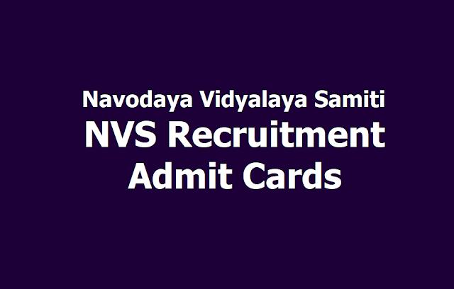NVS Recruitment Admit Cards for Principal, PGT, TGT, AC Posts 2019