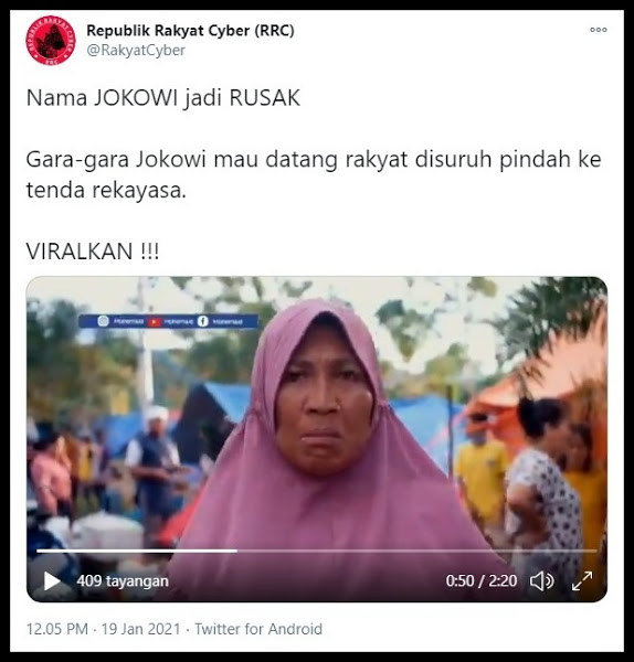 Demi Sambut Jokowi, Tenda Pengungsi Gempa Mamuju Digusur