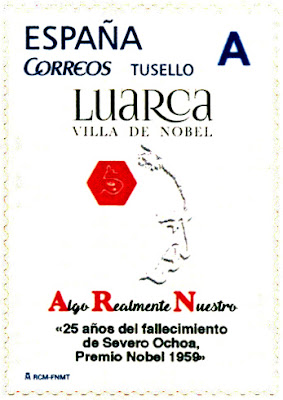 Sello personalizado del 25 aniversario del fallecimiento de Severo Ochoa