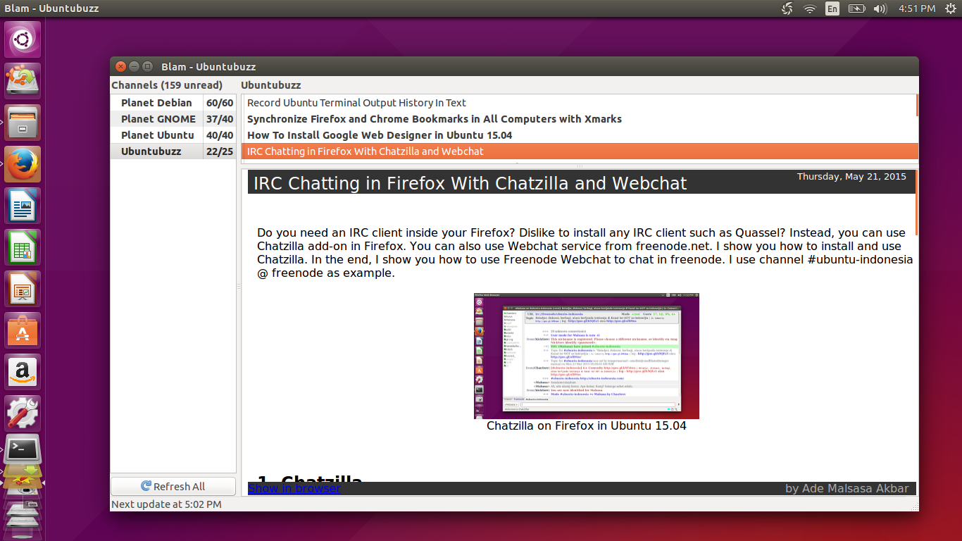Ubuntu Buzz !: Blam, A Dektop RSS Feed Reader for Ubuntu