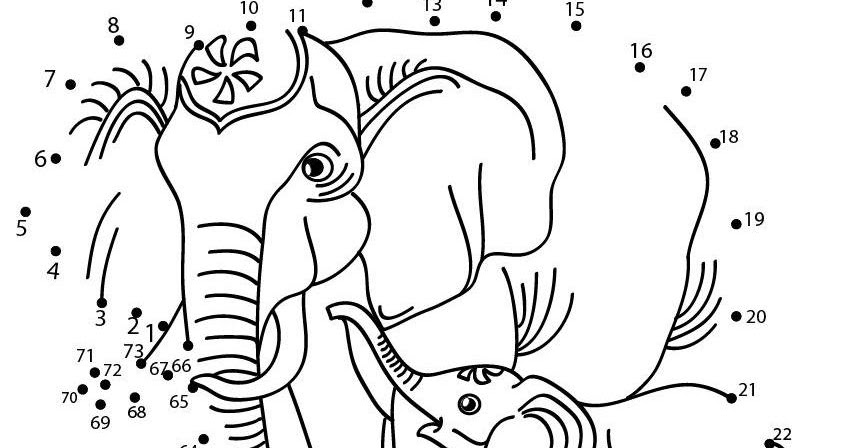 Printable Coloring Pages: Elephants Dot To Dot Connect