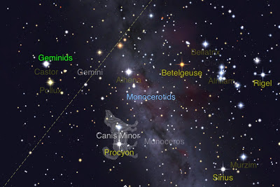 Geminids should appear to originate from Castor (StarWalk app)