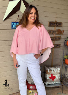McCall's 7541 in Pink Knit worn by Sharon Sews