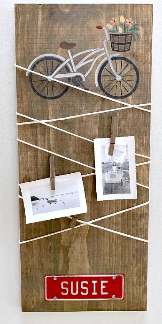Bicycle stenciled cord wrapped message center DIY