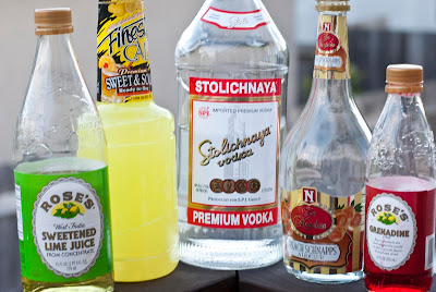 Hell No cocktail shot, vodka, peach schnapps, lime juice, grenadine, sweet & sour mix