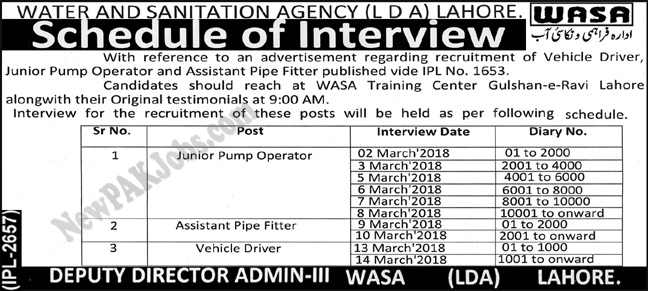 LDA WASA Interview Schedule for Water and Sanitation Lahore 28 Feb 2018