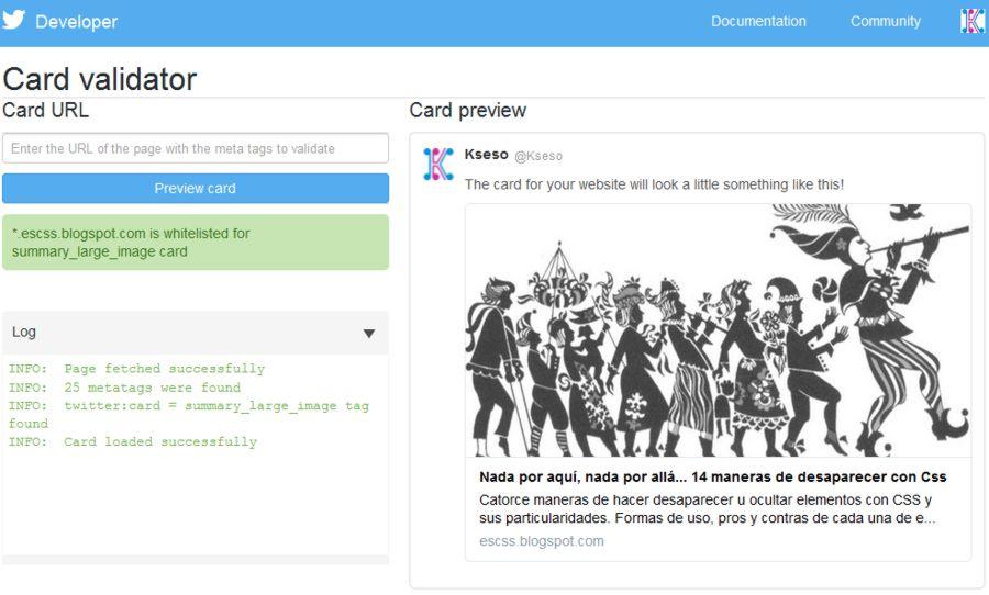 Twitter Card según la herramienta del sitio