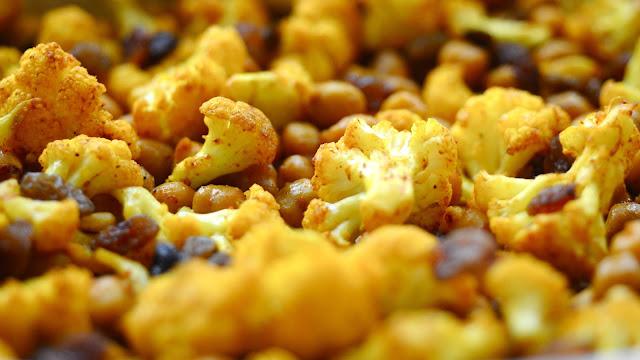 ristede kikærter med blomkål