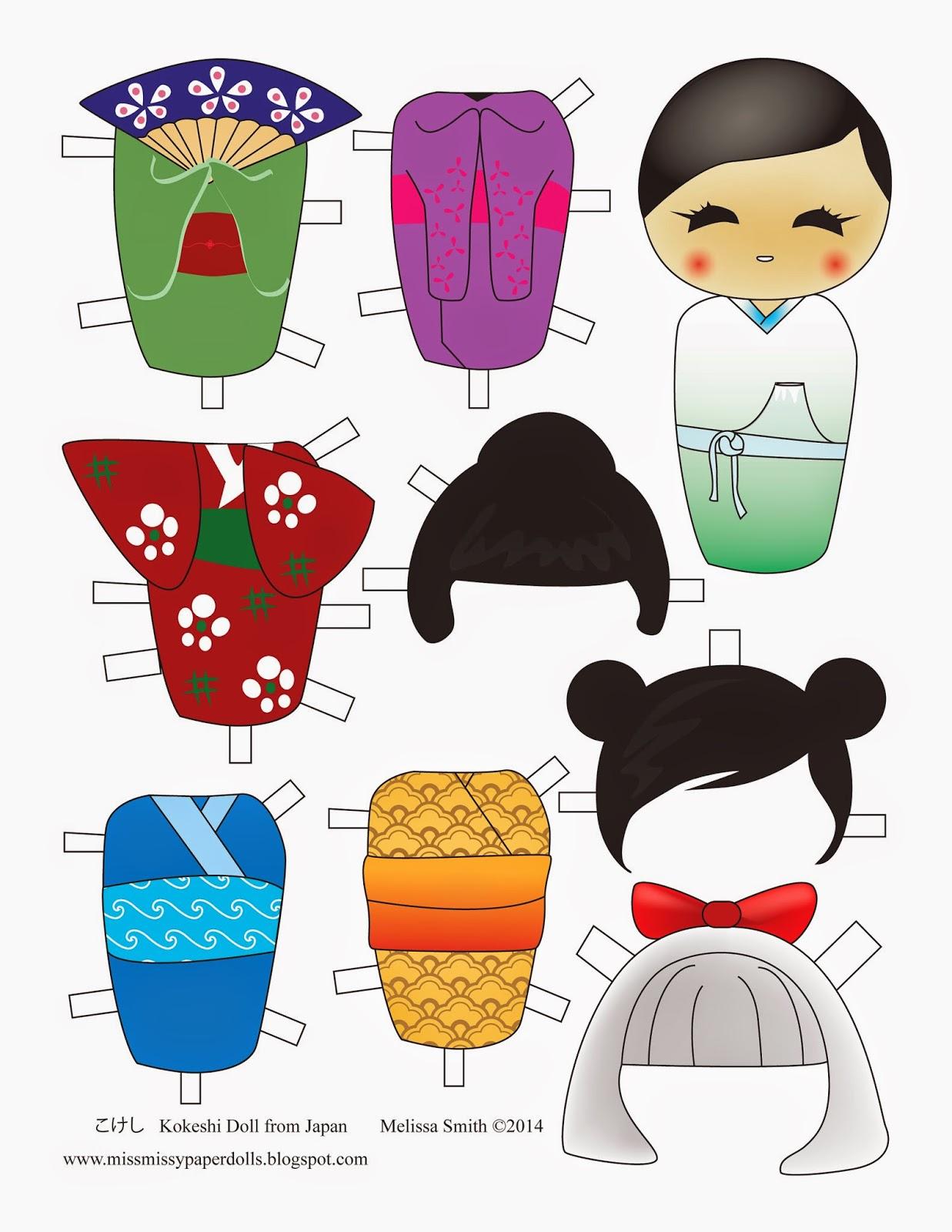 Miss Missy Paper Dolls Kokeshi Paper Doll