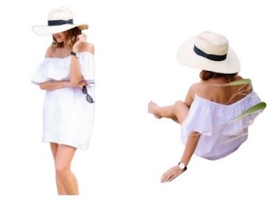 Vestido blanco con volante en capa