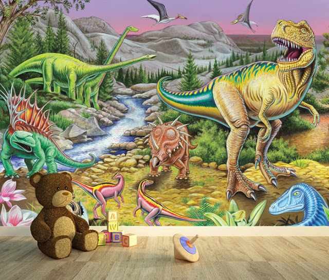 Tapetti lastenhuoneeseen 3D Lasten Tapetti Dinosaurukset