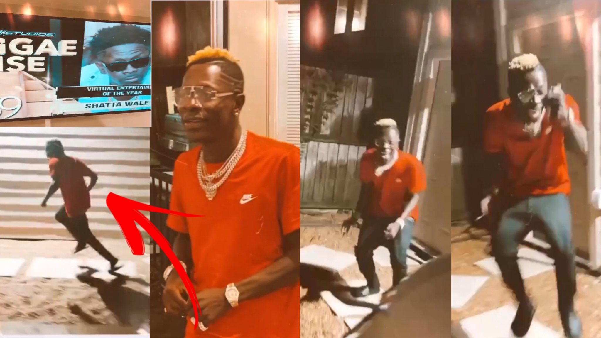 Shatta Wale's reaction when he was adjudged as the best virtual entertainer.