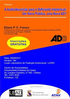 Folder da Palestra: Audiodescrição Para Pessoas Com Deficiência Intelectual