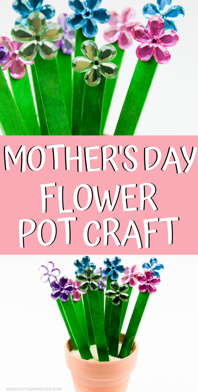 Mothers Day Flower Pot. A fun and easy flower pot craft for kids with a bouquet of flowers.