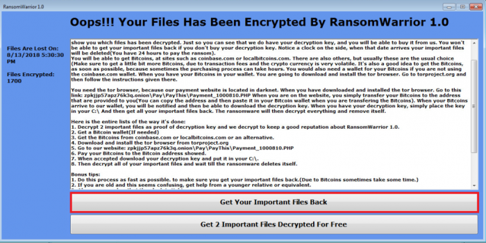 Ransom Warrior Decryption Tool   Check Point Online Guide