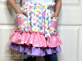 Female Wears Half Apron with Two Ruffles and Appliqued Hearts on Pocket Sewn From Valentines Day Fabric by Sharon Sews