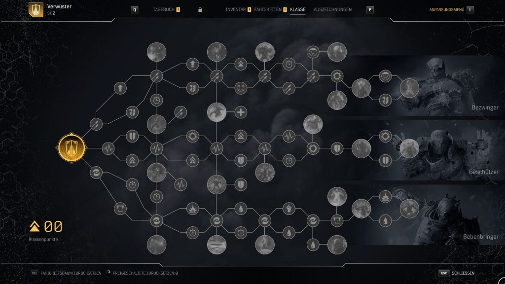 These are the subclasses and the skill tree of the devastator