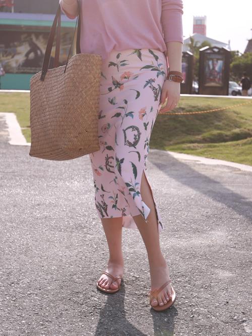 High-Low Hem Floral H-Line Skirt