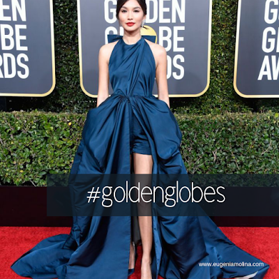 Gemma in navy blue dress in los golden globes.