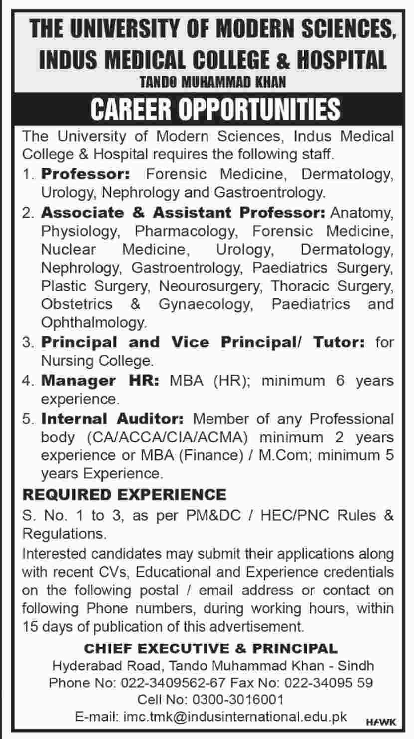 Latest Jobs in Indus Medical College & Hospital Tando Mohammad Khan