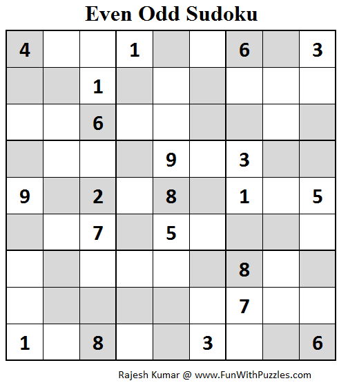 Even Odd Sudoku (Fun With Sudoku #84)