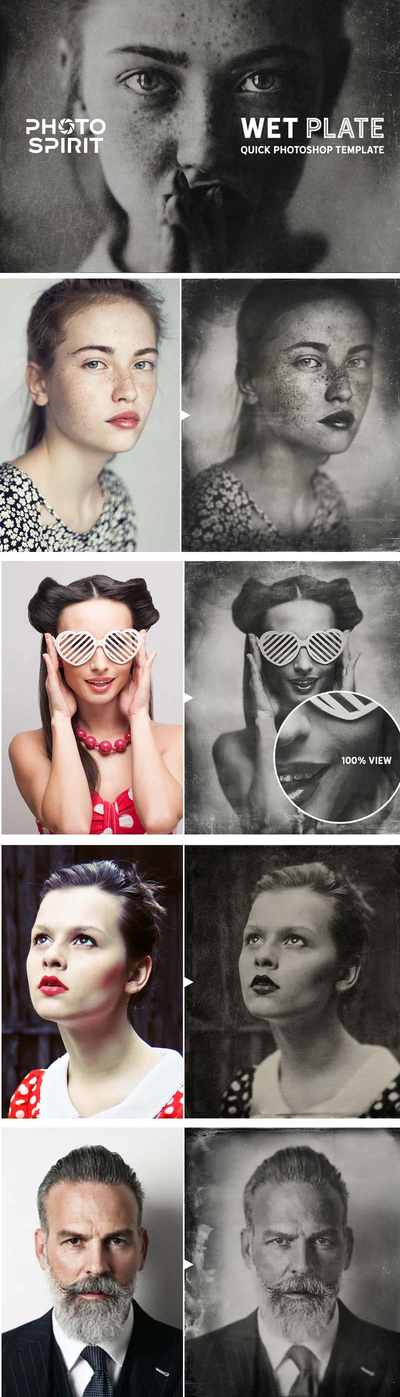 16 WET PLATE Effect Photoshop Template