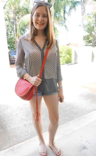 Jeanswest 'Ruby' mixed print shirt, denim short shorts, red saddle bag | Away From Blue