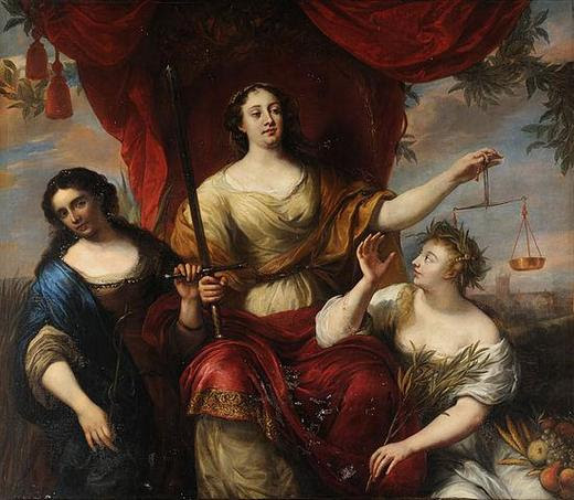 Three girls depict three virtues. Justice is siting on the throne and Prudence with Peace are helping to rule