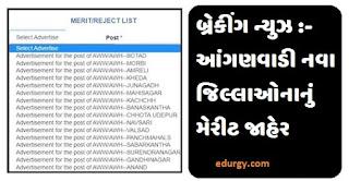 Gujarat Anganwadi Bharti 2021 Marit List Declared