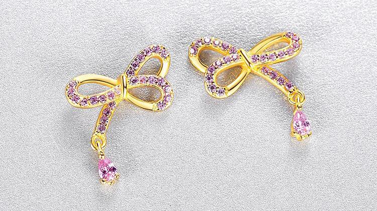 甜美粉鋯石蝴蝶結 925純銀耳環