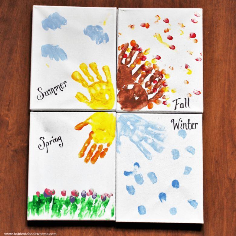 Seasons handprint art