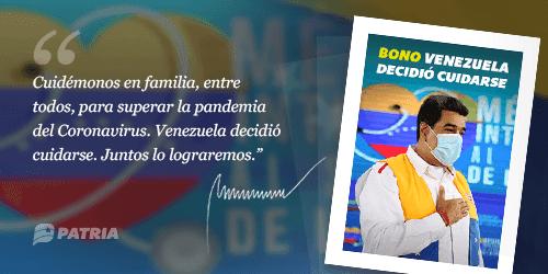 Este jueves inició la entrega Bono Venezuela Decidió Cuidarse a través de la Plataforma Patria