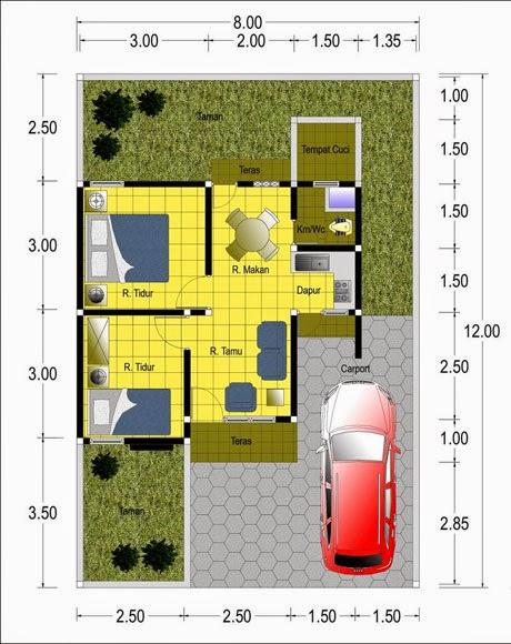 Contoh Denah  Rumah  Minimalis Type 50  M2 Blog Interior