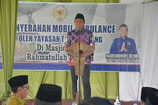 Bupati Batanghari Fadhil Arief Hadiri Penyerahan Satu Unit Mobil Ambulance dari CSR Bank BRI