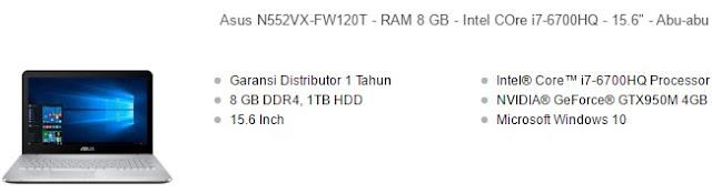 harga laptop asus core i7 n552vx