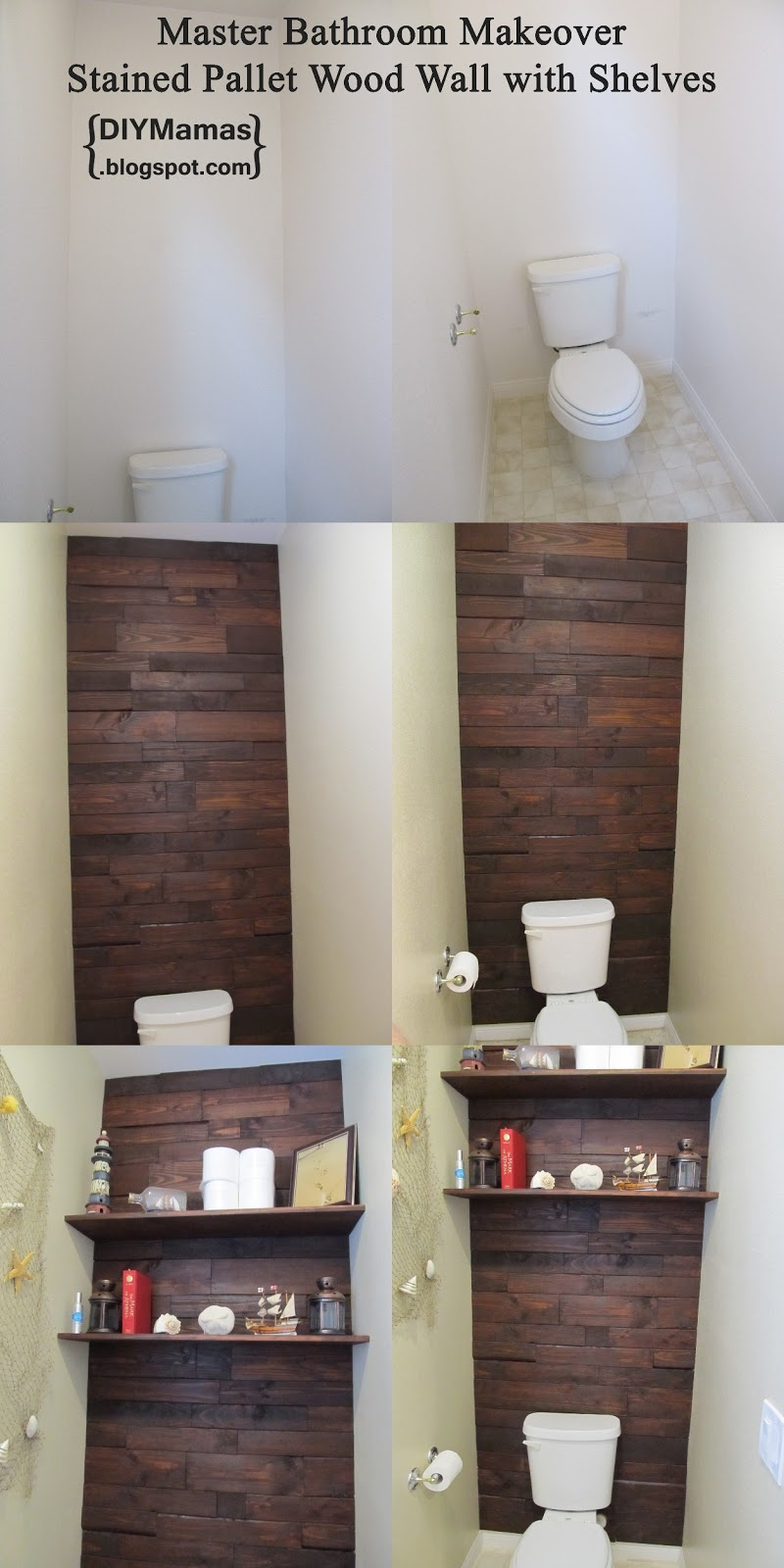 DIY Mamas: Master Bathroom Makeover! {Stained Pallet Wood
