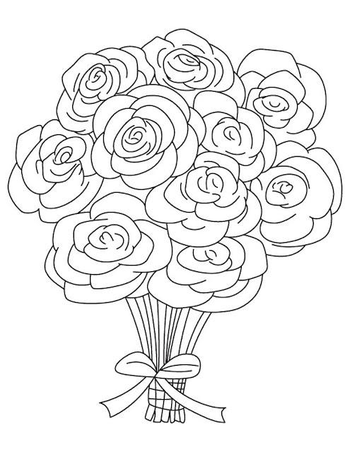 imagenes de ramos de rosas para dibujar